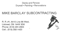 Mike Barclay Subcontracting